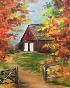 easy acrylic paintings of barns Easy Canvas Painting, Simple Acrylic Paintings, Autumn Painting, Autumn Art, Painting & Drawing, Canvas Art, Pictures To Paint, Art Pictures, Landscape Art