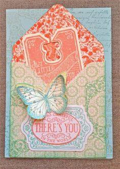 Petite Fleur Paperie - The DSP featured in the envelope card is Venetian Romance and I have based the floral card on a background stamped with Ex Libris.