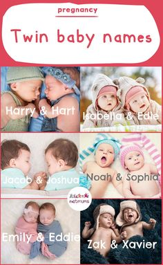 Twin baby namesWhether they're the same sex, boy and girl, fraternal or identical, twins share a close bond. This can be reflected in their names, by choosing two that work wonderfully together. We have a few ideas to inspire you. Boy Girl Twin Names, Baby Girl Names Spanish, Twin Baby Girls, Boy Girl Twins, Twin Babies, Twin Twin, Faternal Twins, Cute Twins, Baby Names 2018