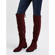 CR : Drawstring Flat Over-The-Knee Boots