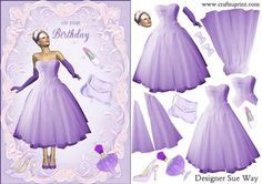 1950 s Birthday Party Dress Card Front and Decoupage on Craftsuprint designed by Sue Way - A really pretty card front in shades of lilac, with a pretty lady in a style violet dress, with a flared skirt Violet Dresses, Dress Card, 40th Birthday Parties, Card Making Techniques, Pretty Cards, 1950s Fashion, Design Crafts, Flare Skirt, Pretty Woman