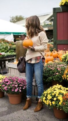 #fall is perfect for #pumpkins and #layering! We love the little hint of #plaid - #scarves, #sweaters, everything works in plaid.