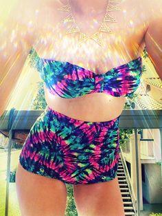 Multi Tie Dye High Waisted Bikini Bottoms