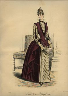 I like the collar and shoulder details, and the lighter sleeves. Le Coquet, 1886
