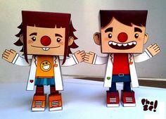 Clown Care Doctors Paper Toys - by Cristina Sánchez - Doutores Da Alegria - == -  These two cute Clown Care Doctors Paper Toys were created by Salvadorean designer Cristina Sánchez.
