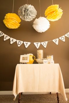 Baby Shower :: Ready to Pop! banner and tissue paper balls
