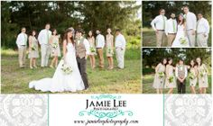 Cape Coral Yacht Club Ballroom   Cape Coral Wedding Photographer   Jamie Lee Photography   Cute Bridal Party Portrait   Mismatched Tan Bridesmaid Dresses   Groomsmen White Shirts Tan Pants Green Ties