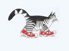 the cat with the red sneakers - by B.Kliban