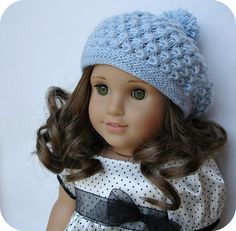 Rosamund Beret ~ PDF knitting pattern for 18 inch American Girl dolls #doll clothes # 18 inch doll #AG #American Girl #Gotz doll #Australian Girl #PDF knitting pattern #patterns to knit #hat #beret #lace knitting #blue #crafts #Ravelry #Etsy