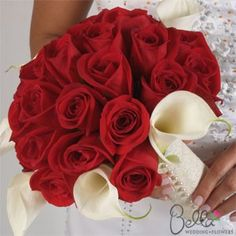 Fresh and beautiful Red Roses & Calla Lily Flowers - Arranged Wedding Flower Bouquets, Centerpieces and Boutonnieres