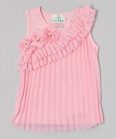 Love this Pink Pearl Flower Pleated Tank - Infant, Toddler & Girls by Tutus by Tutu AND Lulu on #zulily! #zulilyfinds