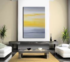 Painting Abstract Art Yellow and Grey Large by RedMoonStudioArt