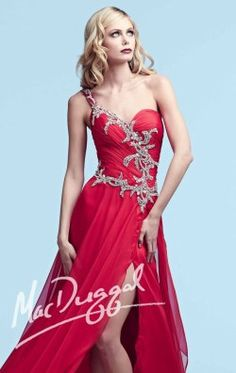 Beaded One Shoulder Chiffon Gown by Royalty by Mac Duggal 64815Y