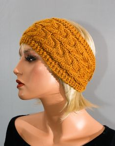 Headband, ear muffs, pure wool, mustard yellow, women, knitted headband  handmade. Bandeau, cache-oreilles ... c59ec7aa83e