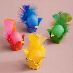 Vamos usar caixas de ovos para enfeitar a Páscoa das crianças, fazendo pintinhos e s galinhas
