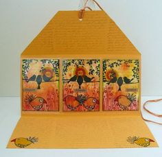 Stamped ATC's, background with Brusho, packed in a cover, made by Alie Hoogenboezem-de Vries