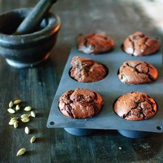 Chocolate, pear muffins with spelt flour