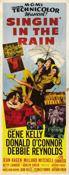 SINGIN' IN THE RAIN (1952) - Gene Kelly - Donald O'Connor - Debbie Reynolds - Directed by Stanley Donen - MGM - Insert movie poster.