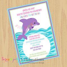 DIY Purple Dolphin Invite -Personalized Invitation by Serendipity Celebrations
