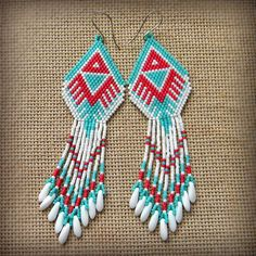 Серьги из бисера - индейский стиль - украшения ручной работы - серьги из бисера