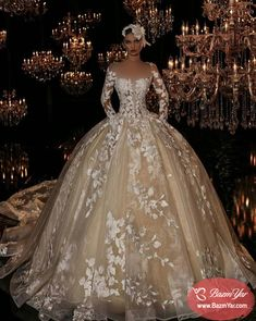 Plus Size Champagne Bridal Ball Gowns Wedding Dresses Long Sleeves Appliques Amazing Wedding Dress, Luxury Wedding Dress, Long Wedding Dresses, Wedding Attire, Bridal Dresses, Wedding Gowns, Queen Wedding Dress, Girls Dresses, Illusion Dress