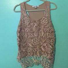 Forever 21 dusty rose pink tank Perfect for day of night. Dress it up professionally or wear this out for a night on the town! The pink lace has light gold thread throughout. Forever 21 Tops Tank Tops