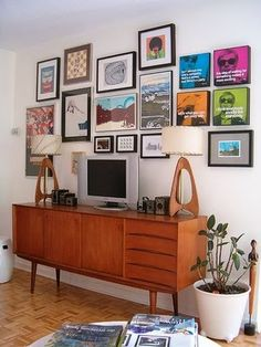 Front living room: Picture Wall Gallery over low credenza or buffet. Mid Century Credenza, Mid Century Furniture, Home Interior, Interior Design Living Room, Design Room, My Living Room, Home And Living, Living Room Inspiration, Interior Inspiration