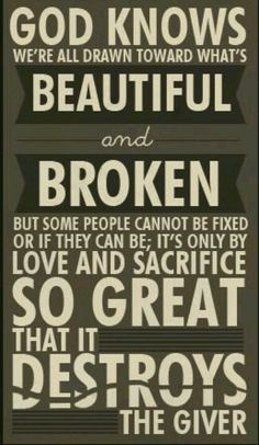 Magnus quote, we're all drawn towards what beautiful and broken