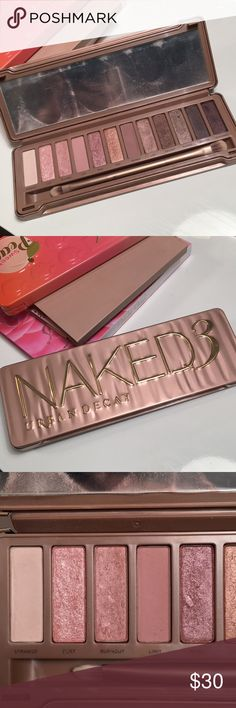 🌟LIKE NEW🌟 URBAN DECAY Naked 3 Palette This palette has been gently used and it has the original brush (cleaned & sanitized). This is a cult favorite and suitable for all eye colors!! You could use this for a everyday, natural eye look or amp it up and create a sultry smoky eye!! Urban Decay Makeup Eyeshadow