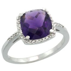 Sterling Silver Diamond Halo Amethyst Ring Cushion shape 8 mm 2.5 Carats, 7/16 inch (11mm) wide, size 5.5: Jewelry: Amazon.com