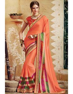 Pleasing Peach Bandhani Saree