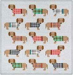 Dogs in Sweaters designed by Elizabeth Hartman. Features Mammoth Flannel. Pattern available for purchase (ohfransson.com)