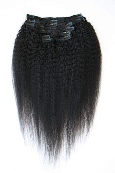 Brazilian Coarse Yaki Clip-in Hair Extensions Curly Clip Ins, Human Hair Clip Ins, Remy Human Hair, Human Hair Wigs, Best Human Hair Extensions, Clip In Hair Extensions, Sew In Hairstyles, Trendy Hairstyles, Curly Hair Styles