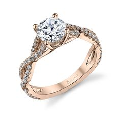 Classic Crisscross Rose Gold and Round Diamond Engagement Ring