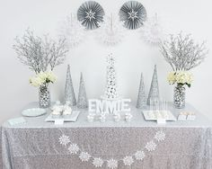 Everything for a gorgeous white winter wonderland birthday party all in one box! Winter Wonderland Birthday, Winter Birthday, Frozen Birthday Party, Xmas Party, 1st Birthday Parties, Girl Birthday, Birthday Ideas, Birthday Celebrations, Winter Party Themes