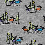 Moose Mania on Heather Gray Cotton Jersey Blend Knit Fabric