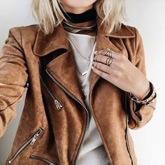A suede moto jacket will take your look to the next level. Fall Outfits, Fashion Outfits, Womens Fashion, Fashion Trends, Ootd Fashion, Mode Style, Style Me, Vetement Fashion, Looks Street Style
