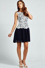 Bryony Crochet Lace Layered Chiffon Skater Dress