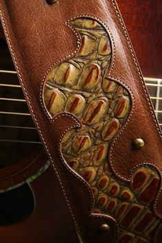 Guitar Strap brown leather guitar strap with by EthosCustomBrands,