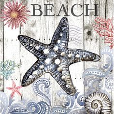 Portfolio Arts Group Harbor Life Starfish I Square Canvas Wall Art Blue Shabby Chic Beach, Fabric Softener Sheets, Square Canvas, Nautical Art, 5d Diamond Painting, Beach Signs, Decoupage Paper, Cross Paintings, Beach Art