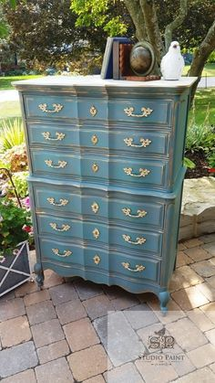 This lovely french provincial painted dresser has been painted with Annie Sloan Chalk Paint with Duck Egg Blue, distressed, waxed and gold gilded. Annie Sloan Chalk Paint Furniture, Blue Painted Furniture, White Washed Furniture, Distressed Furniture, Unique Furniture, Repurposed Furniture, Shabby Chic Furniture, Diy Furniture, Furniture Refinishing