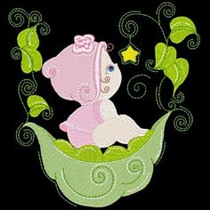 3 Sweetpea baby girl embroidered  quilt block set, stitched on white, the black is just to show the details.