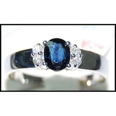 http://rubies.work/0044-gold-flower/ Blue Sapphire Genuine Solitaire Diamond Ring 18K by BKGjewels