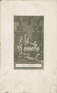 Noach van der Meer (II) | Om hulp vragende vrouw, Noach van der Meer (II), weduwe Jacobus Loveringh & Johannes Allart, 1777 | Een vrome vrouw wil tijdens haar maaltijd niet de arme vrouw helpen, die aan de deur komt. Op de voorgrond een kruk en tafel met daarop gebedenboeken.