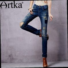 52.80$  Buy now - http://ali8ct.worldwells.pw/go.php?t=32302784896 - Artka Women's Ethnic Washed Denim Trousers Punk Style Vintage Ripped Design Modern Lady Fashion Comfortable Jeans KN14353C 52.80$