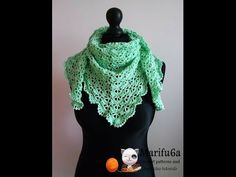 How to crochet spring triangle baktus wrap shawl free pattern tutorial by marifu6a - YouTube