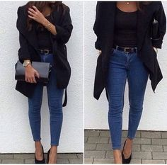 Nada melhor do que um preto  básico com uma calça skinny jeans de salto alto. Amoo