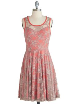 Reveal Vibrance Dress - Sheer, Short, Pink, Grey, Floral, Lace, Daytime Party, A-line, Sleeveless, Exclusives