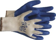 """FLEXIGRIP"" GLOVE LATEX Made of polyster& cotton blends with blue latex coated palm and knit wrist. Flexi grip plastic dot palm, thumb and index finger. Color coordinated dots and knit wrist. Exterior Stain, Hand Tool Sets, Safety Gloves, Cold Weather Gloves, White Brand, Gardening Gloves, Knitted Gloves, Diy Garden Decor, Cotton Canvas"