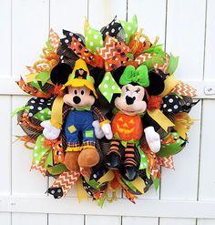 Halloween Mickey and Minnie Wreath Halloween Wreath Mickey
